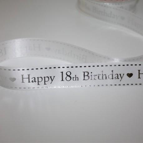 Nastro raso bianco Happy 18th Birthday 25 mm