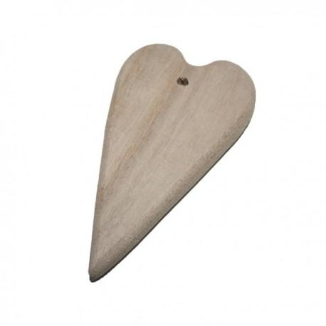 Cuore con foro in legno grezzo 12,4 x 7 x 1,5cm