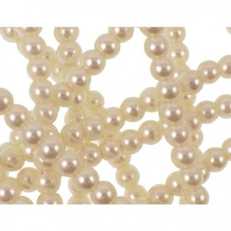 10 Perle di vetro Crema con effetto madreperla 4 mm