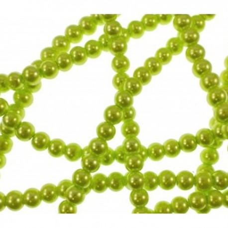 10 Perle di vetro Lime Green con effetto madreperla 6 mm