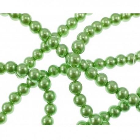 10 Perle di vetro Green Mint con effetto madreperla 6 mm