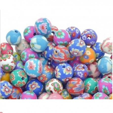 5 Beads in fimo a fantasia 8 mm