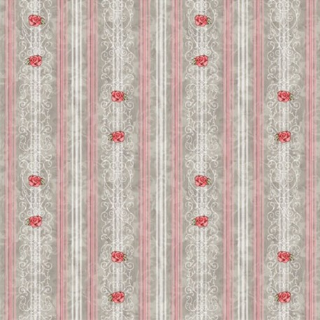 Tessuto Frou Frou Strisce e rose rosa
