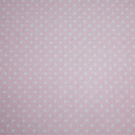 Cotone Stampato Rosa Con Pois Bianchi