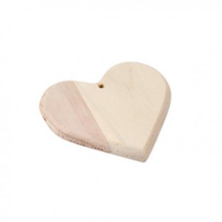 Cuore con foro in legno grezzo 11 x 10 x 1,5cm