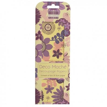 3 fogli Deco Maché Purple Bloom