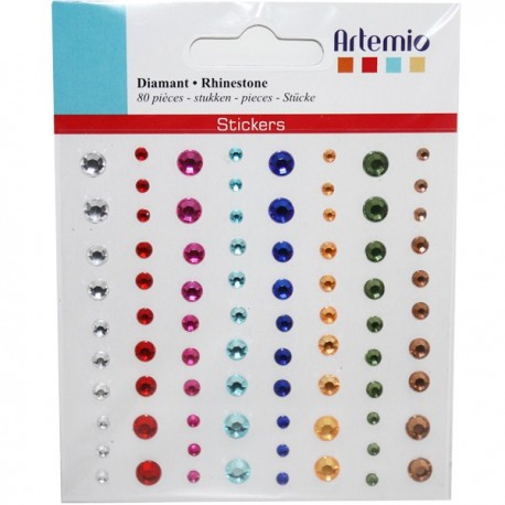 80 Strass adesivi colorati
