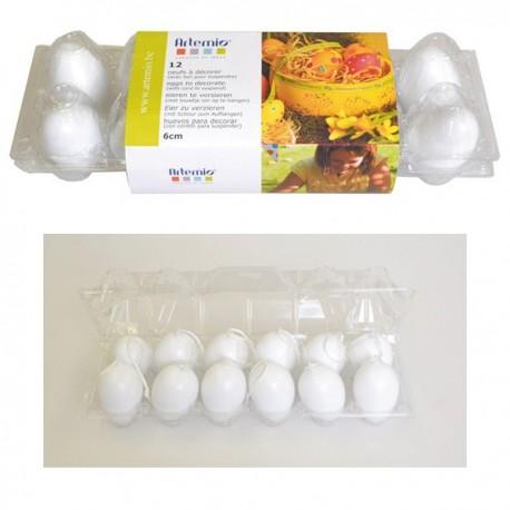 12 uova di plastica da 6 cm