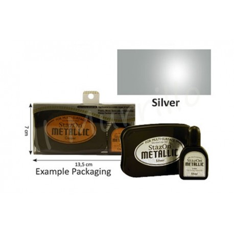 StazOn metallic ink pad & inker silver