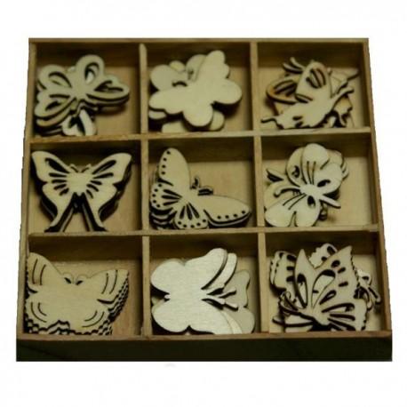 Set 45 Sagome Di Farfalle In Legno