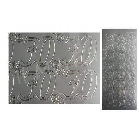 Adesivi scritta 30 argento