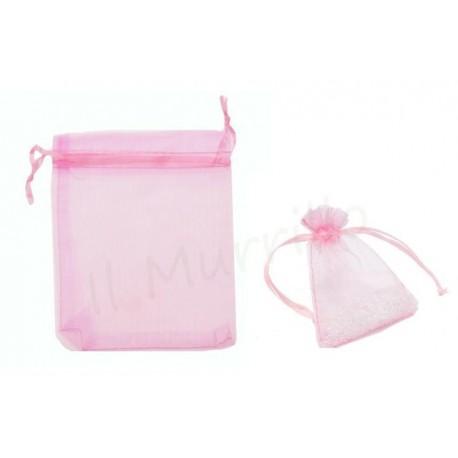 6 sacchetti organza rosa 8xh10 cm
