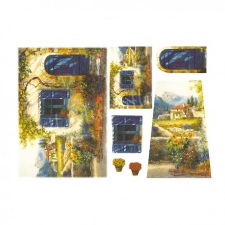 Carta di riso Decoupage Paesaggi blu