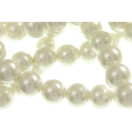 10 Perle di vetro con effetto madreperla Bianche 8 mm